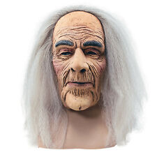 SCARY CREEPY OLD MAN #HORROR MASK WITH GREY HAIR ADULT FANCY DRESS