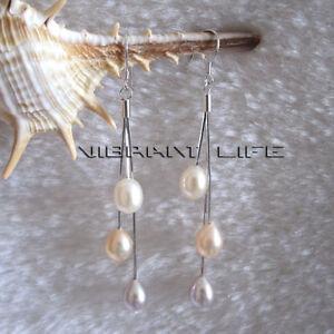 7.5*8.5mm White Peach Pink Lavender Freshwater Pearl Dangle Earrings DaS