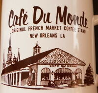 Vintage Pair Cafe Du Monde Souvenir Coffee Mug New Orleans LA French Market