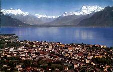 Vevey Kanton Waadt Ansichtskarte 1960 datiert Panorama Dents du Midi Genfer See