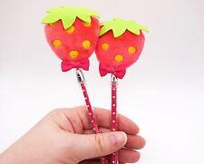 Kawaii Strawberry plush polka dot pen! Super cute novelty fruit pen, berry pen