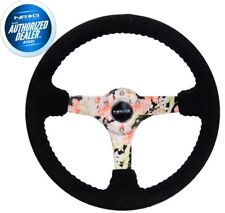 "NEW NRG Reinforced Floral Suede Steering Wheel 3"" Deep 350mm RST-036FL-S"