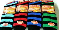 12 Pairs Mens Black Thermal Socks, Thick Warm Work Boot Socks  6-11 DARK STRIPE