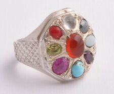 Handmade Persian  Agate Turquoise Ruby Opal, Red Coral sterling Silver Ring