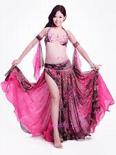 New Belly Dance Costume Outfit 4 Pics Bra&Belt&Skirt&Armbands 34B/C 36B/C 38B/C