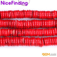 Red Coral Stone Heishi Spacer Beads For Jewelry Making Loose Beads Gemstone 15""