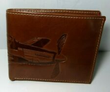 Fossil Vintage Aviation Mustang P-51 Wallet Bifold ID Brown Embossed Leather NWT