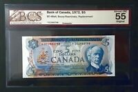1972 BANK OF CANADA $5 Replacement Note *CC2983798 BCS AU-55 Original BC-48aA