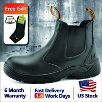 Safetoe Safety Work Boots Mens Shoes Steel Toe Black Leather Slip on US 2 - 13