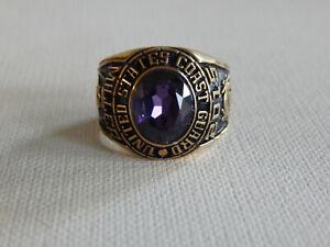 Gold Tone Purple Stone United States Coast Guard Ring Sz 11