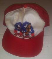 Vtg Snap-On Tools Trucker Hat Mesh Cap American Flag Eagle Red Snapback New Era