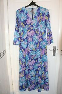 Ex Hire Hippie Style Ladies Long Floral Dress with Necklace Fancy Dress Costume
