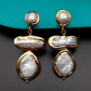 Freshwater Cultured White Biwa Pearl Coin Pearl Gold plated Earrings