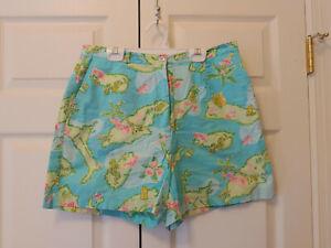 Vtg Women Lilly Pulitzer Aruba One Happy Island Blue Bermuda Shorts Size 10