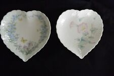 Mikasa Heart Shaped Dishes Bone China Double Gift (2) Butterflies Flowers, 6.50""