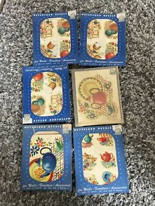 6 Meyercord decals Vintage set of colorful flowerpots in original package