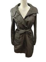 Ellen Tracy Women's Green Long Sleeve Snap & Zip Up Trench Coat Sz S