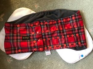 Glenndarcy Dog Belly Band Diaper SIZE XXL + TWO PADS red tartan POPPERS