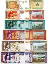 MONGOLIA - Lotto 6 banconote 1/5/10/20/50/100 Tugrik FDS - UNC