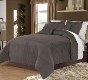 5PC Reversible Grey & White King Size Velvet Duvet Cover Set At Best Price