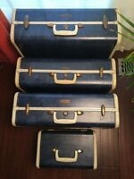Vintage Shwayder Bros Samsonite Luggage Suitcase Set Blue/Bone Marble 4pc