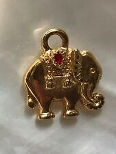 Estate Small Goldtone Elephant w Riding Blanket & Small Red Enamel Decoration