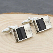 Personalised Onyx Stone Cufflinks For Men Birthday Wedding Favours Gift Him Dad
