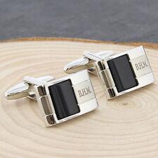 Personalised Onyx Stone Cufflinks For Men Birthday Wedding Favours Gift Him Dad