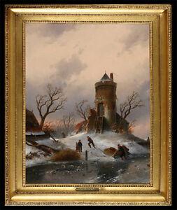 "Leickert,  Charles Henri Joseph -attr.-*1816-1907 Belgien ""Winterlandschaft"""
