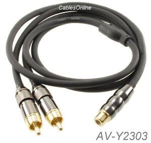 3ft Premium RCA Female to 2-RCA Male flexible & durable Audio Splitter, AV-Y2303