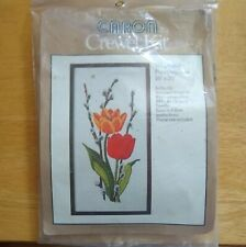 Caron TULIPS & PUSSYWILLOWS Stamped Crewel Stitch Kit NEW Sealed 10in x 20in