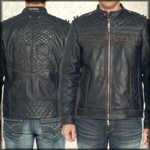 Affliction Highway Man 110OW067 Skull Moto Mens Leather Jacket Black LE NEW $595