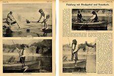 Fischfang mit Stechgabel und Feuerkorb * Historische Aufnahmen von 1906