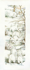 """WEST HIGHLAND WHITE WESTIE DOGS ART LIMITED EDITION PRINT """"Long Trail - Winter"""""""