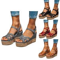 Summer Ladies Plain Platform Sandals Buckle Strap Espadrille Open Toe Shoes