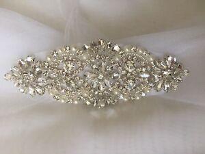 Bridal Crystal Pearl 14cm Diamante Stunning Beaded Appliqué Motif, High Quality!
