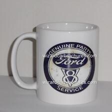 COFFEE MUG 11oz FORD V8 GENUINE PARTS SERVICE XR XT XY XW XA XB XC XD XE GT 351