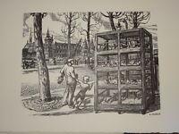 André MARGAT (1903-1999) GRAVURE BOIS MARCHE ANIMAUX ENFANT ILE CITE PARIS 1950