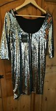 Topshop silver two-tone sequin dress BNWT sparkle party glam bodycon size 10