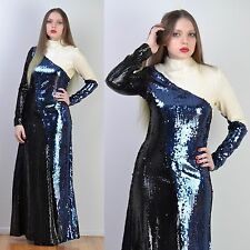 VTG 70s ASYMMETRICAL Black + White SEQUIN ENCRUSTED Trophy MAXI Party DRESS S-M