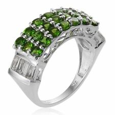 RUSSIAN DIOPSIDE, WHITE TOPAZ BAQUETTES 3.70 TCW IN PLATINUM OVER STERLING SILVE