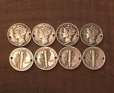 8 Holed MERCURY DIME Coins For Jewelry Or BRACELET-90% Silver!