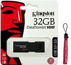 Kingston 32GB 32G DataTraveler 100 G3 USB 3.0 Flash Pen Drive DT100G3/32GB +Lany