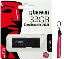 Kingston 32GB 32G DataTraveler 100 G3 USB 3.0 Flash Pen Drive DT100G3/32GB +Lany
