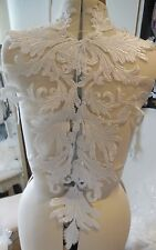 Large bridal wedding ivory bolero lace ivory cotton threads floral lace applique
