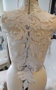 Large bridal wedding ivory bolero lace ivory cotton threads floral lace applique