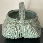 Antique Primitive BUTTOCKS EGG BASKET Small Hand Woven Painted