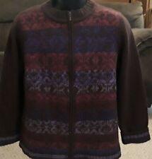 Women's Coldwater Creek Xl 18 Zip Front Cardigan Sweater Purple Burgundy Wool