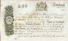 """BANK OF SCOTLAND 1840'S 20 POUND WARRANT """"ALEXANDER HUMPHRYS"""" REMAINDER FOR TERR"""