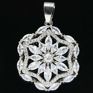 Gorgeous White Sapphire Woman's Wedding Silver Pendant